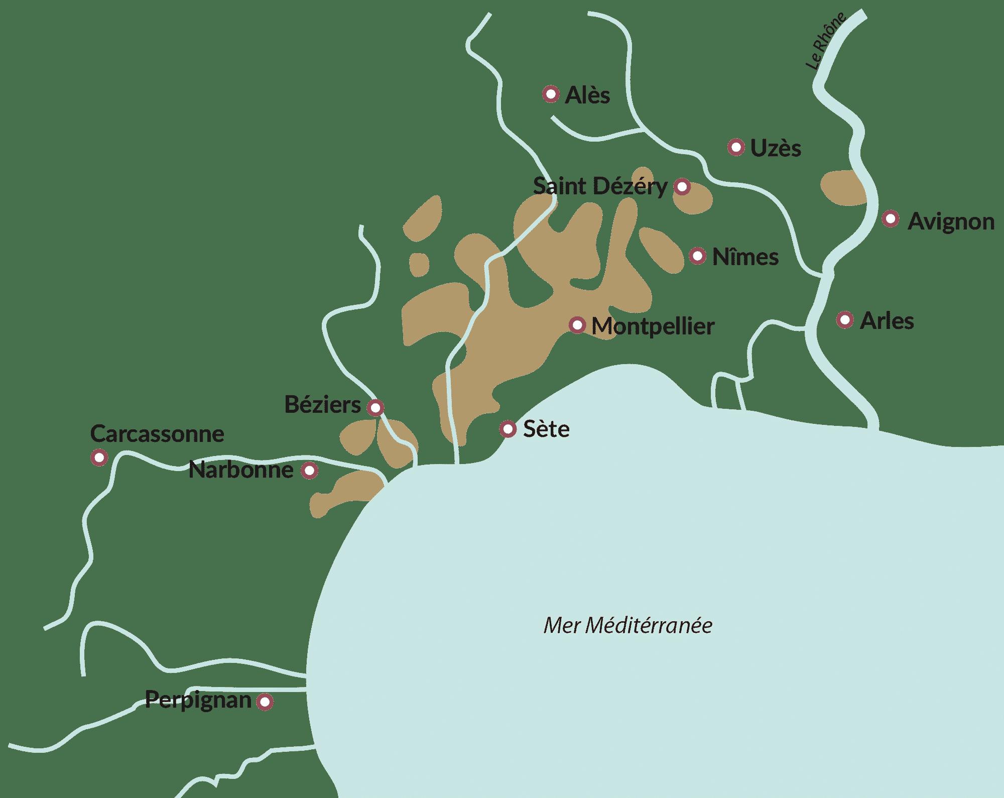 carte du pays d'Oc